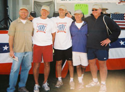 Image of the 2005 Honoree - Chris Hogan with Meet Directors Ted Chwazik, Steve Roefaro, and Sam Paniccia, and Bill Delude