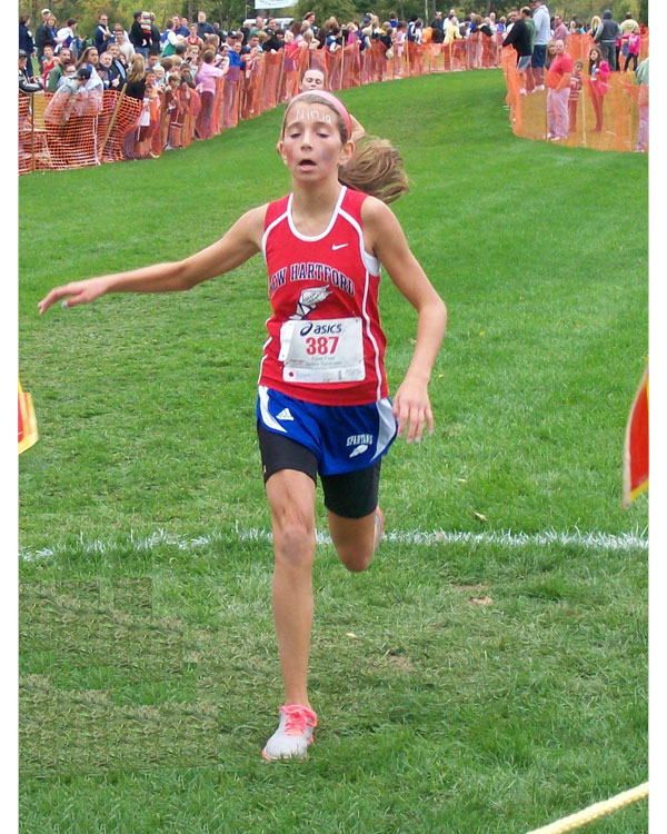 Image of the Monsignor Francis J. Willenburg Girls Modified race winner Elizabeth Haddad from New Hartford