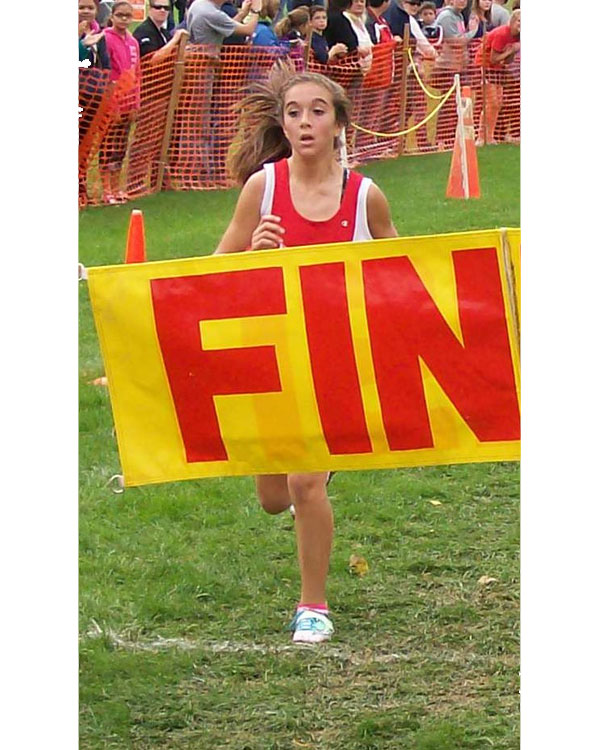 Image of the Utica Police and Fire Fighters Memorial Girls JV race winner Lexi Sciotino from Niskayuna