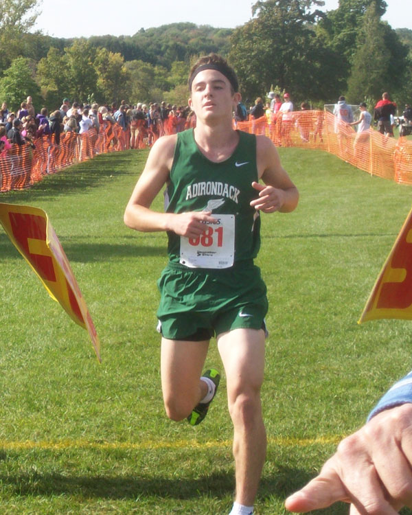 Image of the Bill DeLude Boys Varsity race winner Ryan O'Rourke from Adirondack