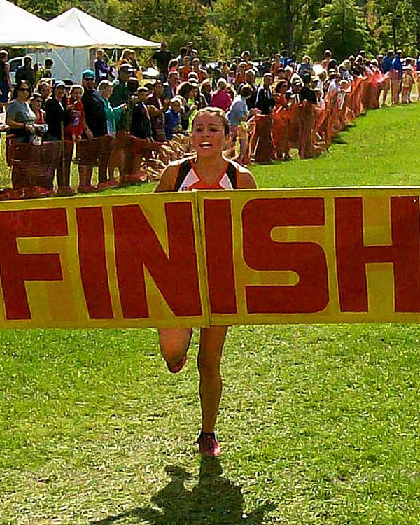 Image of the Monsignor Francis J. Willenburg Girls Modified race winner Gianna Capoccia from Rome Free Academy