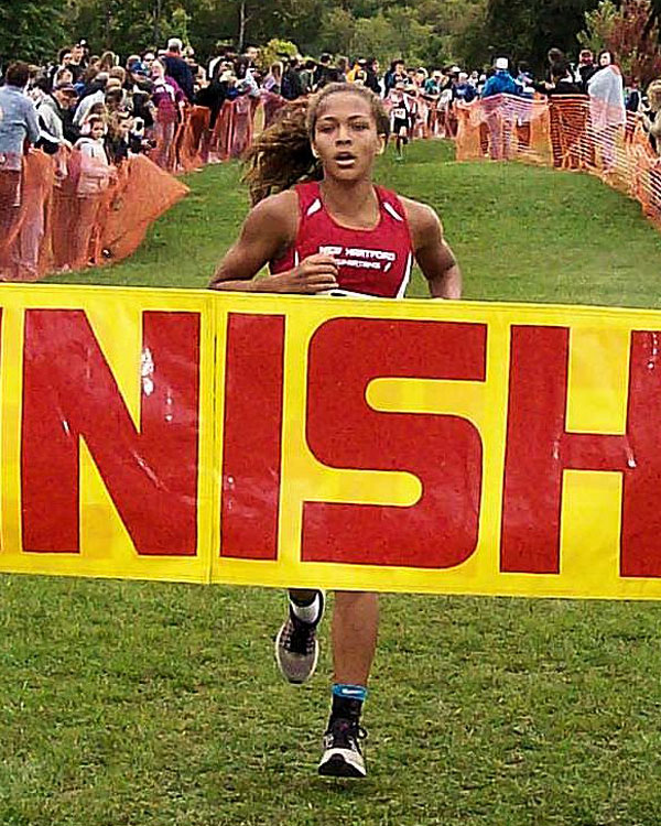 Image of the Monsignor Francis J. Willenburg Girls Modified race winner Kaia Henderson from New Hartford