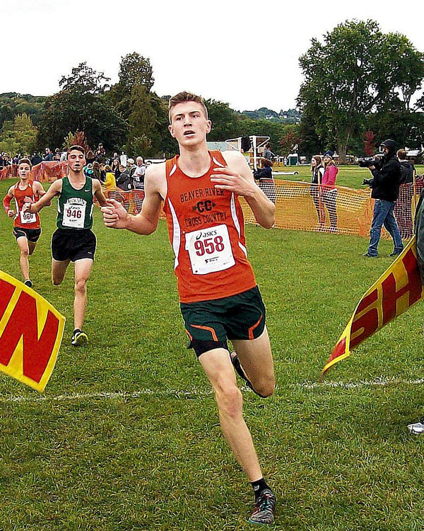 Image of the Bill DeLude Boys Varsity race winner Connor Demo from Beaver River