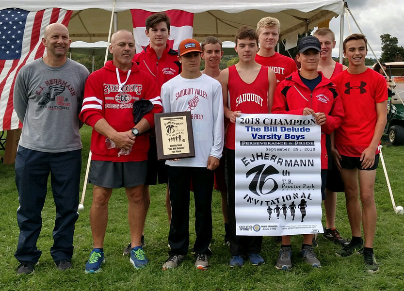 Image of the Bill DeLude Boys Varsity winning team Sauquoit Valley, presented by Mr. Steve Roefaro